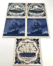 Holland America Line Ceramic Tile 5 Coasters ,Ms Statendam ,SS Veendam