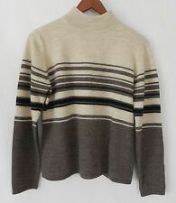 New Amber Stone Sweater 100% Pure New Wool Multi-color Size M Stand-up Collar