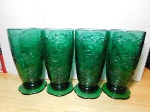 Glass~Princess House Fantasia 4 Footed Tumbler Set Olive Green 18oz Poinsettia