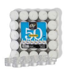 Ohr Tea Light Candles - White, Unscented, 50 Bulk Pack