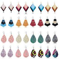 Handmade Boho Bib Teardrop Leather Dangle Hook Ear Earrings Women Jewelry New
