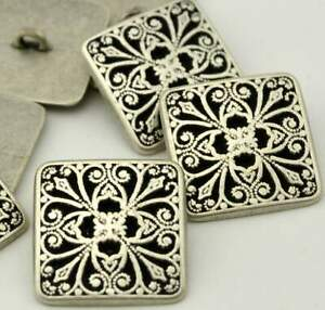 """MADISON Buttons Antique Silver Buttons 24mm Square Filigree 1"""" Qty 4 to 12,"""