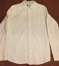 Men's FOSSIL Brand Shirt Button Down WHITE Paisley Print Chicken Logo Large L