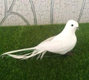Fake White Doves 15pcs Bird Ornaments Artificial Feather Foam For Wedding Decor