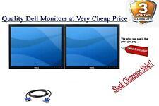 "Cheap Dell 2 X 19"" LCD DUAL SRCEEN LCD MONITOR MATCHING SCREEN COMPUTER PC TFT"