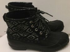 Justice Duck Boots Girl's Size 2 Black Metallic Silver