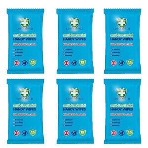 6 X GREEN SHIELD PACK OF 15 WIPES ANTI-BACTERIAL KILLS 99.9% BACTERIA