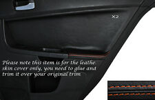 Cuciture color arancio 2x POSTERIORE PORTA CARD Trim pelle copertura Si Adatta Mitsubishi Lancer Evo X 10