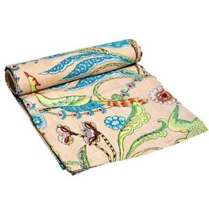 Indian Queen Gudri Handmade Quilt Vintage Floral Print Kantha Spread Throw Decor