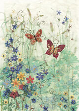 Blue Meadow Butterflies Gold Foil Embossed Blank Card by Bug Art