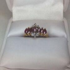 Ladies Ring Ruby And Diamonds 10K Gold (J174)