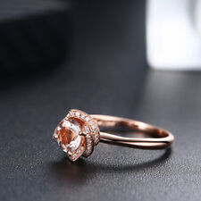 Round 6.5mm Lightest Pink Morganite 14K Rose Gold Vitage Classic Diamonds Ring