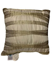 Martha Stewart 16.5 Square Ivory Accent Pillow With Metallic Gold Ribbon Stripes