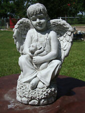 Country Boy Angel holding Puppy Dog Gray Cement Antiqued White Statue Memorial