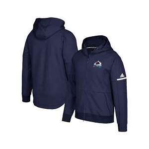 NHL COLORADO AVALANCHE ZNE JACKET Adidas Black Full Zip Hockey Warm Up Hoodie