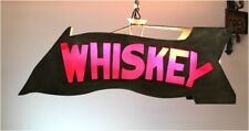 Big Metal Tin Lighted Hanging Home Bar WHISKEY Sign w Red Glass Insert Fixture