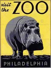ZOO PHILADELPHIA USA HIPPOPOTAMUS VINTAGE POSTER ART PRINT 12x16 inch 830PY