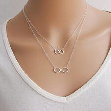 1 St. Doppel Unendlichkeit Versilbert Halskette Metall 2 Kette Double Layers