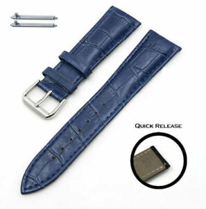 Blue Croco Quick Release Leather Replacement Watch Band Strap Steel Buckle #1043