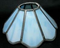 Vintage Lamp Shade UPWARD COLLAR Leaded Blue Slag Glass Antique Oil Chimney