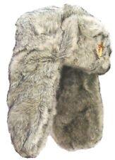 Militaires soviétiques USHANKA HAT Homme L Gris Fourrure Trappeur Russe Cosaque + badge