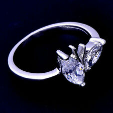 Womens white Gold Plated Clear Flower Ring Size 6 fashion jewelry free shipping