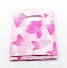 Jewelry Pouches.100pcs Pink Butterfly Print Plastic Bags Jewelry Gift Bag 9X15cm