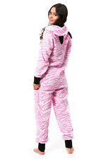 New S One Piece Pajamas Pink Zebra Union Suit Footless Onesy PJs Ears on Hood