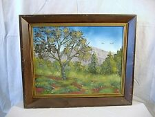 Naive Folk Art Landscape Painting Southern Foothills Autumn Oil Acrylic Canvas