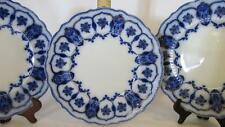 "3 Johnson Brothers Eclipse Flow Blue 10"" Dinner Plates, Early 1900's, Gold Trim"