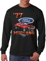 New Men's Ford Mustang '77 Long Sleeve Black T Shirt Fastback Muscle Car Classic