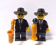 LEGO 2 Man Male Minifigure Figure Saxophone Trumpet Player Jazz Blues Band Music