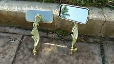 1 PAIR - NEW! Lowrider Bike All Gold Winged Bicycle Rectangle Mirror Cruiser