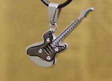 Guitar Black Silver Two Tone Pendant Necklace in velvet gift bag UK