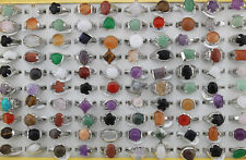LOT de 50 mix natural gemstone silver p rings/ bagues
