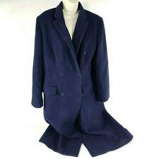 Lauren Ralph Peacoat Trench Coat Navy Blue Wool Cashmere Long Pockets Winter L