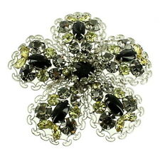 Vintage Les Bernard Silver Tone Filigree Black Grey Lemon Yellow Rhinestones Sta