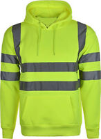 Hi Vis High Visibility Hooded Sweatshirt Hoodie Safety Work Wear S - 2XL