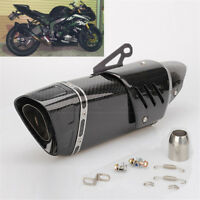 Real Carbon Fiber Covered Motorcycle Exhaust Tip Muffler Pipe Silencer Universal