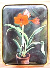 """Halcyon Days Enamel Box: From a painting by Winston Churchill: """"Amaryllis Lily"""""""
