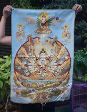 "36"" Tibet Buddhism Silk Cloth 18 Hands Maha Cundi Thangka Painting Mural 17"