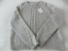 EX Fat Face Tilly Navy Cable Knit Detail Medium Weight Side Vent Jumper 14 16 18 16