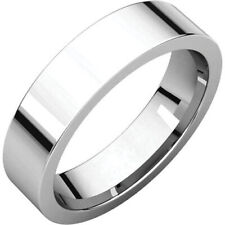 5mm 14K Solid White Gold Plain Flat Comfort Fit Wedding Band Ring All Sizes