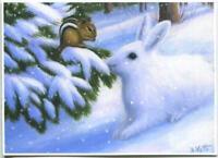 ACEO WINTER SNOW WHITE BUNNY RABBIT CHIPMUNK EVERGREEN TREE LANDSCAPE L/E PRINT