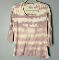 Fat Face UK Women's Top Size Large Pink White Custom Tie Dye 3/4 Sleeves