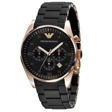 New AUTHENTIC Emporio Armani AR5905 Black Rose Gold Chronograph Men's Watch USA