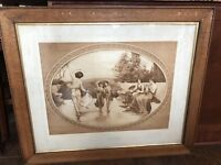 """William Hounsom Byles """"Arcadia"""" Print Large Framed and Matted"""