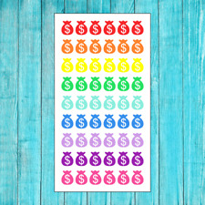 54 COLORFUL MONEY BAG PAY DAY STICKERS FOR ERIN CONDREN PLANNER CALENDAR RAINBOW