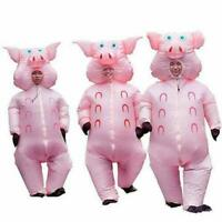 New Inflatable Pink Pig Costume Suit Adult Blow Halloween Cosplay Fancy Dress UK