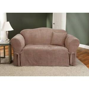 Sure Fit Soft Suede  BOX Cushion - SOFA Slipcover - sable new
